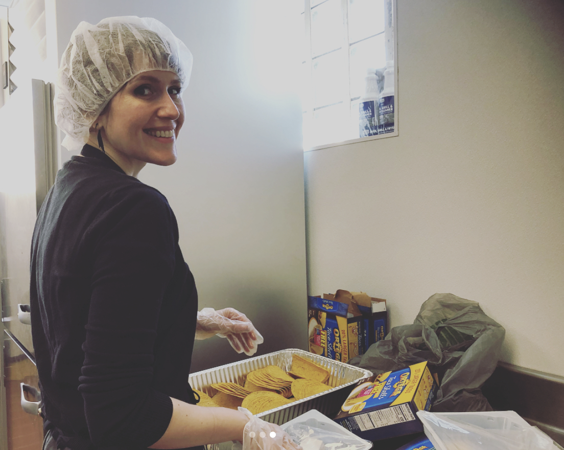 Alicia Cermak preparing taco shells at Youthlink